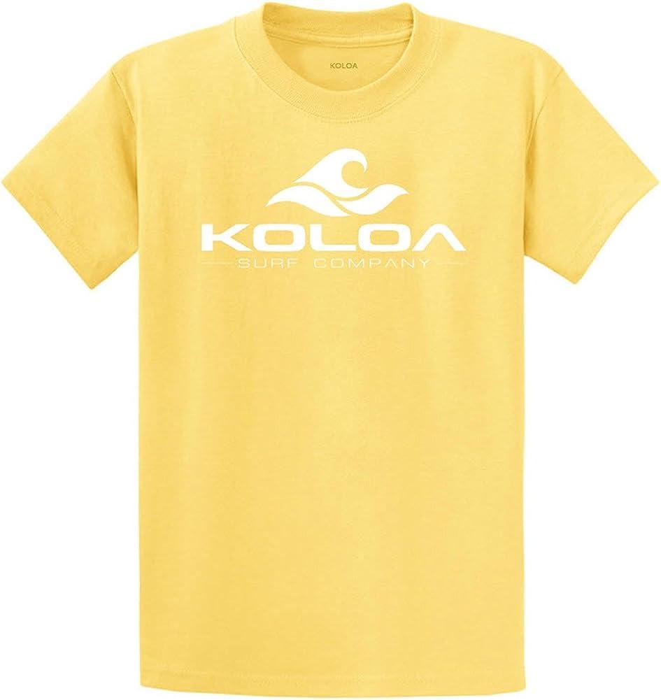 Koloa Surf Co. Wave Logo 50/50 Cotton Poly Blend T-Shirts 4X-Large Tall -4XLT Yellow