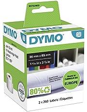 DYMO LW - Etiquetas de dirección grandes, 36נ89mm, impresión negra sobre fondo blanco, 2rollos de 260etiquetas (520etiquetas con reverso fácil de retirar) para rotuladoras LabelWriter