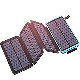 Hiluckey Chargeur Solaire 25000mAh Portable Power Bank avec 4 Panneaux & Deux 2.1A Ports Imperméable Batterie Externe pour iPhone, ipad, Samsung, Smartphones