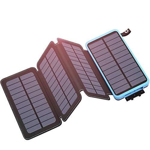 Hiluckey Solar Powerbank 25000mAh Wasserdicht Power Bank mit 4 Solar Panels Tragbares Solar Ladegerätfür für iPhone, Samsung Galaxy, iPad und Smartphones