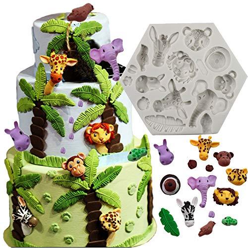 bozoa Animal Formen Kuchen dekorieren Supplies Silikon Formen für Schokolade DIY Cookies Mousse Candy Ice handgefertigte Seife Animal Fondant Formen (Elefant Löwe Giraffe Affe ANIMAL Forest)