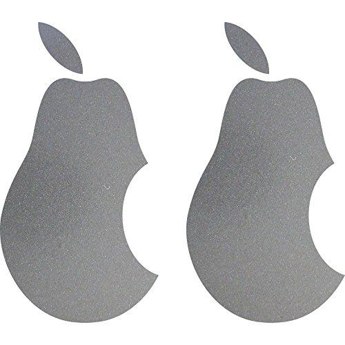 GreenIT 2 Stück 10cm Birne mit Biss Apple Verarsche Handy Tablet Notebook Laptop Aufkleber Tattoo die Cut Deko Folie (Silber metallic)