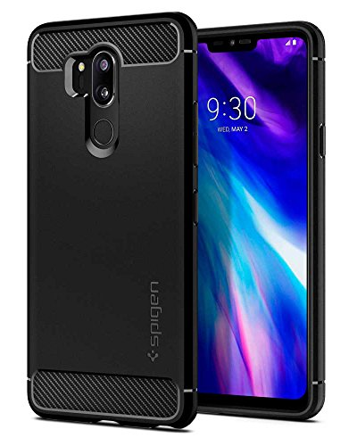 Spigen Rugged Armor LG G7 ThinQ Hülle (A27CS23033) Karbon Look Elastisch Stylisch Soft Flex TPU Silikon Handyhülle Schutzhülle für LG G7 Plus ThinQ Case [Schwarz]