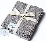 Sweet Acorn Organic Cotton Baby Blanket, Knitted Yarn (Dove)