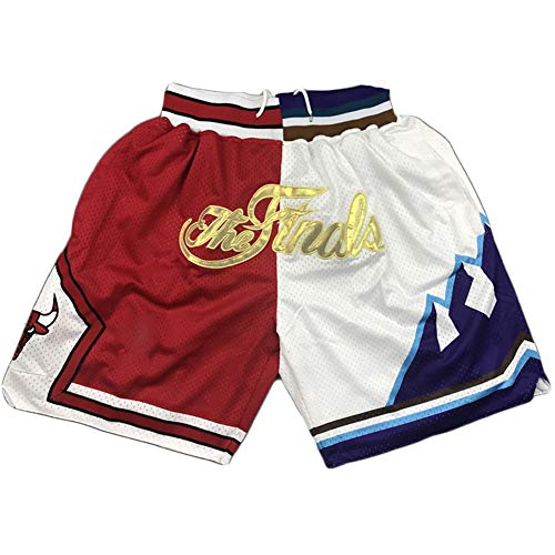 RNGUP Student Basketball Shorts Bulls Fans Basketball Shorts, Stickerei Schnelltrocknende lose Shorts red White-S