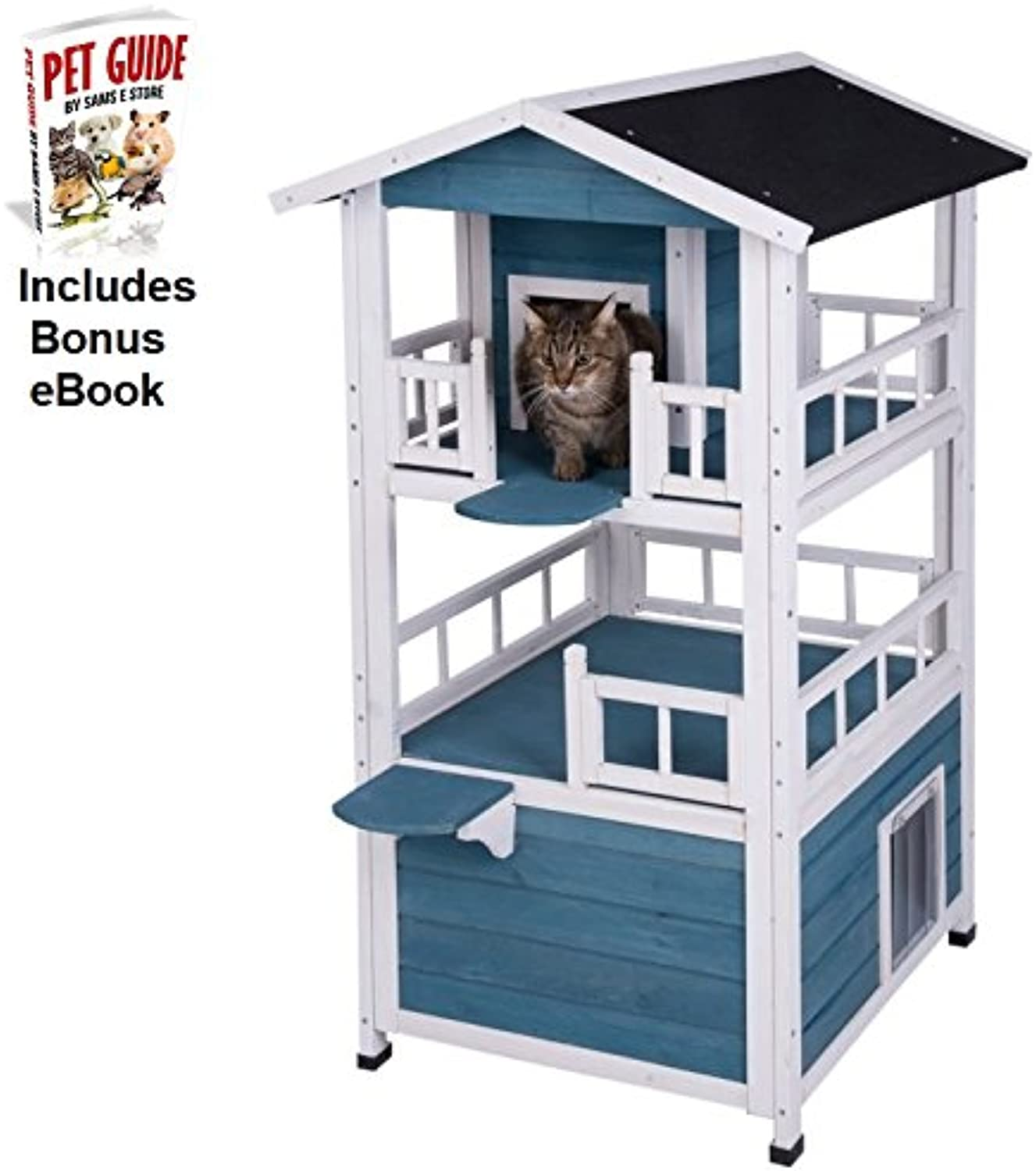 Cat House Multi Level Indoor   Outdoor Use Weather Treated Suitable for homes with multiple cats