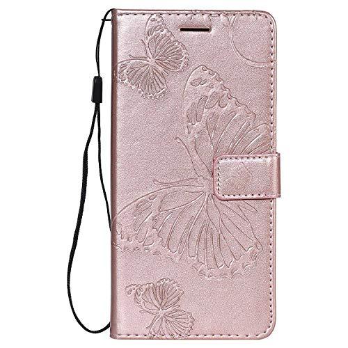 Premium Hülle für Galaxy A8S, Modasin Brieftasche Tasche mit Magnetisch Verschluss & Klapp Ständer, Dünn Leder Hülle für Samsung Galaxy A8S, Rosé Gold