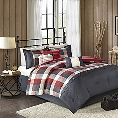 Madison Park Ridge King Size Bed Comforter Set Bed In A Bag - Red, Plaid – 7 Pieces Bedding Sets – Ultra Soft Microfiber Bedroom Comforters