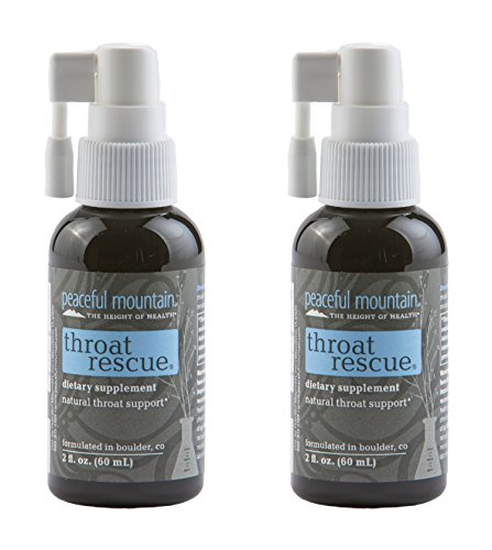 Peaceful Mountain Throat Rescue (Pack of 2) with Elemental Silver, Purified Water and Peppermint Essential Oil, Natural and Holistic Throat Support, 2 fl. oz.
