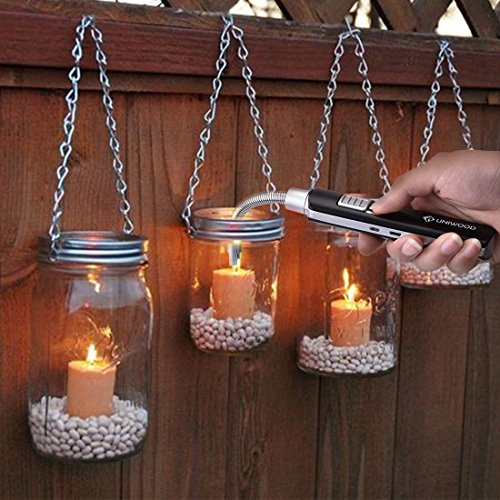 Candle Lighter, CHETONE Electric Rechargeable Utility Long Lighters Windproof Flameless with USB Charging Cable for Candles Grill Campfire BBQ Fireplace Kitchen Outdoor Camping Barbecue Fire