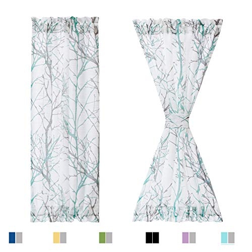 """Fmfunctex Sidelight French Door Window Curtains 72"""" Long Decorative Aqua and White Branch Semi Sheer Curtain Sets for Glass Door 24"""" W 2 pcs"""