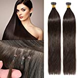 S-noilite 18inch I Tip Remy Hair Extensions 50g/pack Pre Bonded Keratin Stick Tip Extensions Human Hair 100strands 0.5g/s Full Head Cold Fusion Hair Extensions #2 Dark Brown