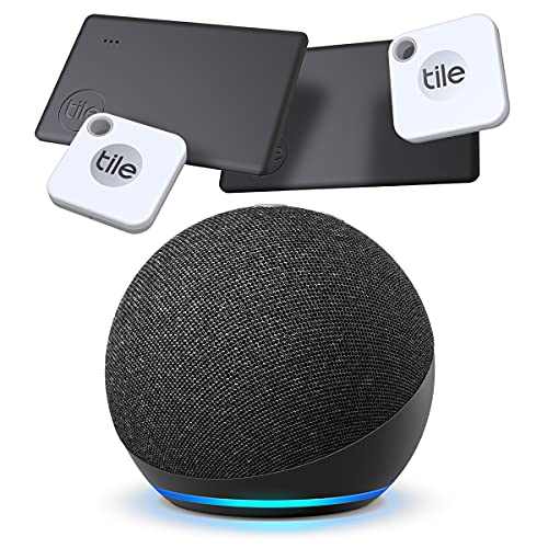 Tile Mate + Slim (2020) 4-Pack (2 Mates, 2 Slims) - Bluetooth Tracker, Item Locator & Finder for Keys, Bags, Wallets, Tablets and More with New Echo Dot 4th Gen Smart Speaker Alexa Charcoal