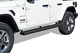 APS iBoard Running Boards (Nerf Bars Side Steps Step Bars) Compatible with 2018-2020 Jeep Wrangler JL Sport Utility 4-Door (Black Powder Coated 5 inches)