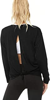 Bestisun Open Back Workout Tops Long Sleeve Yoga Tie Knot Shirts Gym Clothes for Sports Women