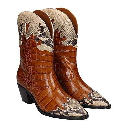 Dames Enkel Laarzen Puntschoen Leather Lage Hak Laarsjes Ga Naar De Get Together Prom Herfst Winter Mode Laarzen,Brown,40 EU