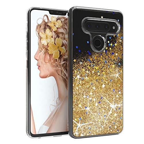 EAZY CASE Hülle kompatibel mit LG V40 ThinQ Schutzhülle mit Flüssig-Glitzer, Handyhülle, Schutzhülle, Back Cover mit Glitter Flüssigkeit, TPU/Silikon, Transparent/Durchsichtig, Gold