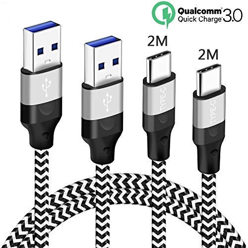 Cable USB Tipo C 2M 2M para Samsung A52 A51 A71 5G S20 S21 Plus Ultra FE/A21S A41 A42 A72 A12 M31 M11 M51 A20E S10 S10E,A50 A30S,Note 10 8 9 A31,Huawei P20 P30 P40 Lite Pro,3A Cargador Carga Rápida