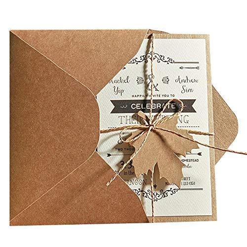 5x7 Rustic Wedding Invitations, Unique Wedding Cards with Invitation Envelope - Set of 50 pcs