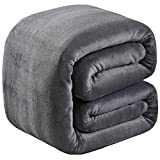 Soft Queen Size Blanket for Fall Winter Spring All Season 350GSM Thicken Warm Fuzzy Microplush Lightweight Thermal Fleece Summer Autumn Blankets for Couch Bed Sofa SOFTCARE Dark Gray 90' 90'