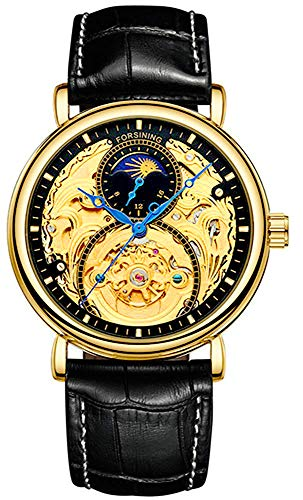 Mens Automatic Watches Gold Tourbillon Skeleton Watch Moon Phase Waterproof Stainless Steel Watch (Leather Black)