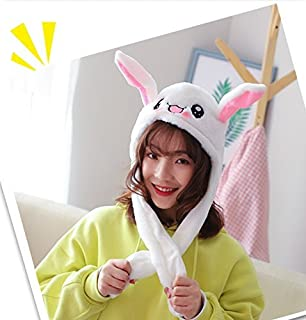 Christmas eve Interesting Funny Toys Pinching Rabbit Hat'S Ear Can Move with Airbag Cap Plush Cute Hat Attractive Toys Gift for Women & Child in Cosplay/Party, White