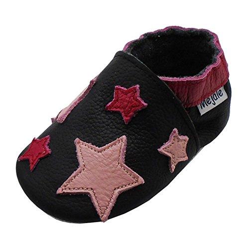 Mejale Chaussons Cuir Souple Chaussures Cuir Souple Chaussons Enfants Pantoufles Chaussures Premiers Pas Dessin animé étoile(18-24 Mois/5.9 Pouce,XL)