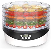 Food Dehydrator, Sancusto Digital Fruit Dryer Machine Electric 5 Tiers Food Dehydrator Machine with Adjustable Temperature Control & 72H Timer Auto Off Food Preserver for Jerky, Herbs and Vegetables