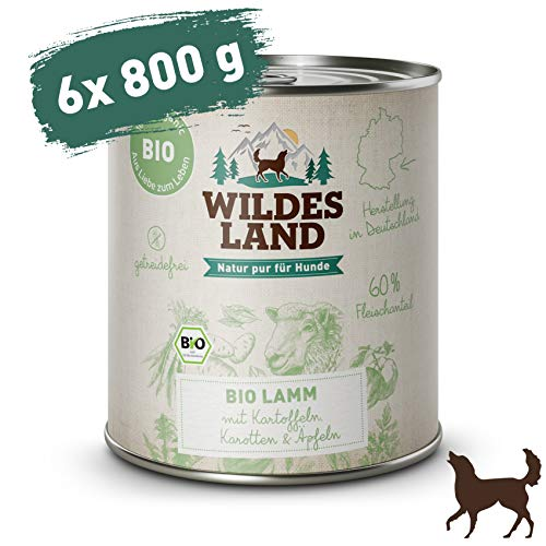 Wildes Land | Nassfutter für Hunde | Bio Lamm | 6 x 800 g | Getreidefrei & Hypoallergen | Extra hoher Fleischanteil von 60% | 100% zertifizierte Bio-Zutaten | Beste Akzeptanz und Verträglichkeit