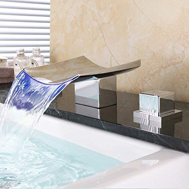 Waschbecken Wasserhahn - Wasserfall verbreitet Chrome Deck montiert Zwei Griffe DREI Lcher