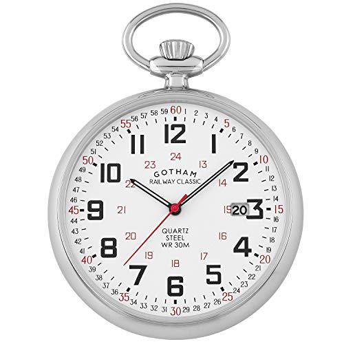 Gotham Men's Stainless Steel Analog Quartz Date Railroad Pocket Watch # GWC14105S