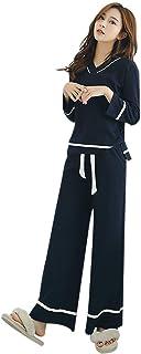 [ディープアイズ] レディース パジャマ ルームウェア 綿100% Vネック 長袖 上下セット 部屋着 春 秋 冬