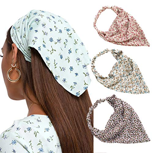 Floral Elastic Hair Scarf Headband - 3 PCS Chiffon Head Kerchief Headband Print Floral Hair Scarves with Hair Clips Kerchief Head Scarf Hair Bandanas for Women (Pink/Beige/Red)