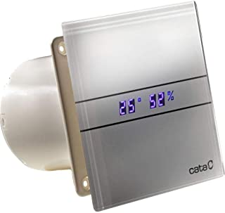 Cata de vidrio baño campana extractora 100mm indicador de temperatura higrostato gris plata