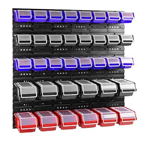 Box mit Deckel + Wandregal 80 x 80 cm, Stapelboxen Schüttenregal Sichtlagerkästen Lagersystem (Blau/Schwarz/Rot)
