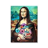 Leinwanddruck Malerei Lustige Wandkunst Mona Lisa Donuts