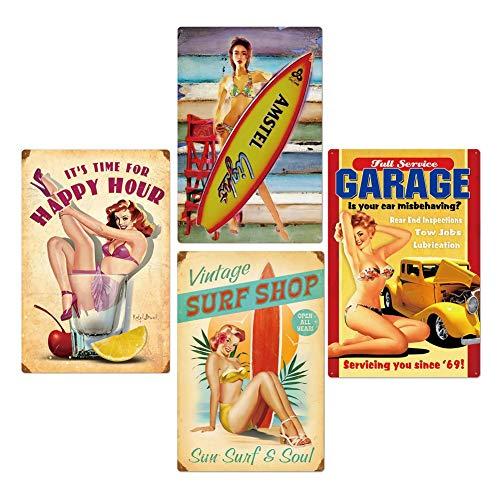Yiyu Blechschild Sexy Girl Pinup Hollywood Reklame Retro, Motorrad Blech Metallschild Retro Blechblechpostkarte x (Color : A)
