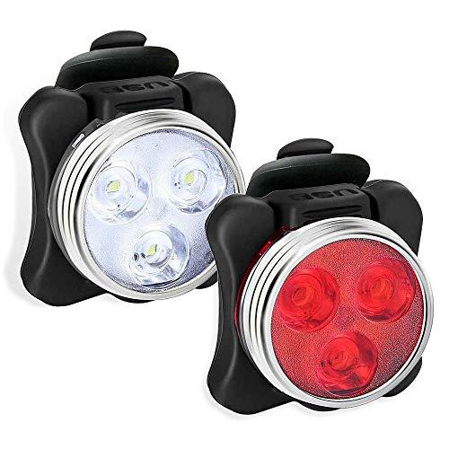 Set luci per bici ricaricabili tramite USB,fanale anteriore super luminoso e luce posteriore a LED per bici,4 modalità di illuminazione,resistente all'acqua IPX4 2 USB Cavi e 2 cinghie