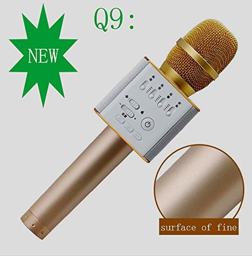 SZGP Q9 Portable Wireless Karaoke Microphone Handheld Condenser Microphone with Speaker for for iPhone/iPad/iPod/ Samsung Sony HTC Lumia Smartphone (golden)