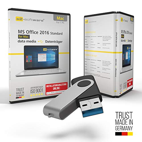 MS Office 2016 Office für Apple Mac – USB Stick- mit Original-Lizenz & Lizenzunterlagen inklusive Lizenzrecht und Produkt-Lizenzschlüssel – Unbegrenzte Laufzeit für Ihr MacBook, iMac