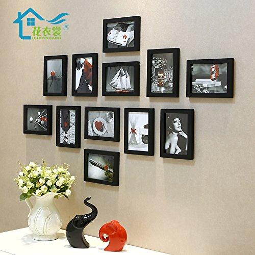 Massief houten fotolijst fotobehang wandcombinatie wand zwart op visuele kunst chip