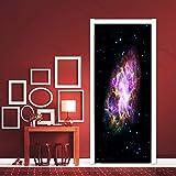 Moon Scenery Galaxy Selbstklebende Türaufkleber Art Space Planet Landschaft Tapete DIY Decals Home Decor Wandbild Poster A14 77x200cm