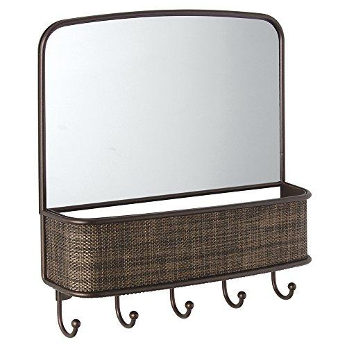 iDesign 95930EU Twillo Wandmontierter Spiegel und Postablage, Küche, Flur, Eingangsbereich, bronze