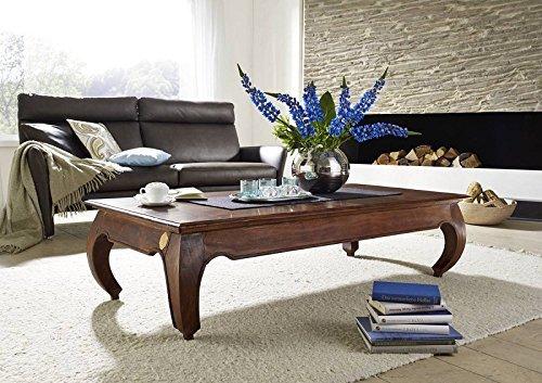 Table basse 160x80cm - Bois massif d'acacia laqué - Inspiration Ethnique-Coloniale - OPIUM #626