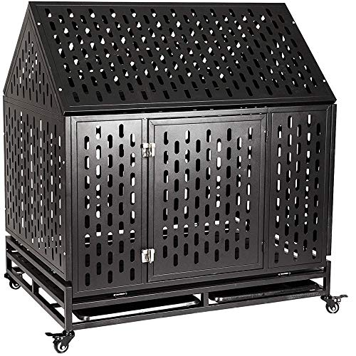 Gelinzon Heavy Duty Dog Cage Crate Kennel Roof Strong Metal