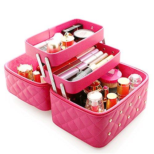 FYX Kosmetikkoffer Makeup Box Kosmetiktasche Schminkkoffer für Reisen Dienstreise weich 25 * 19 * 21cm Schwarz Rosa Pink (Rosa)
