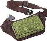 GURU SHOP Stoff Sidebag & Gürteltasche, Goa Gürteltasche - Braun/olive, Herren/Damen, Baumwolle, Size:One Size, 12x18 cm, Festival- Bauchtasche Hippie