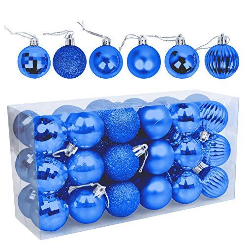 Speyang Palle di Natale 4cm, Palline Dell'Albero di Natale, Addobbi Natalizi Palline per Albero, Set Palla di Natale, Albero di Natale Palla Decorazioni con Albero Natale Scintillante—36 Pezzi (Blu)