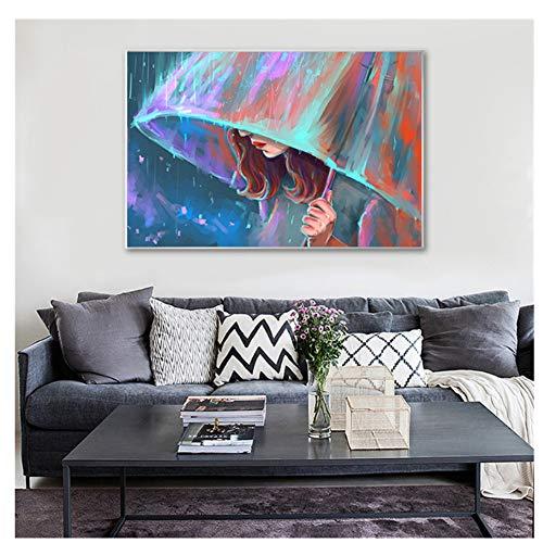 GIRDSS Abstrakte Gemälde auf Leinwand Bilder für Wohnzimmer Mädchen mit Regenschirm Wandbilder Wohnkultur Pop Art-60X90cm No Framed