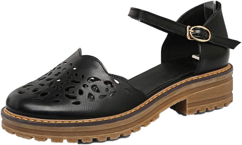Amonymode Woherrar Round -Toe Buckle Pu Fast Low klackar Sandals, Sandals, Sandals, BUTLT007500  låg 40% pris
